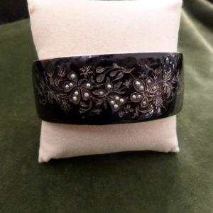 Black enameled antique silver bracelet