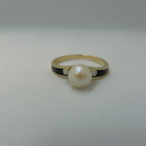 Pearl, enamel and diamond gold ring
