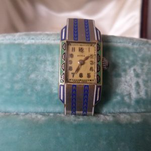 Art deco gold enameled Doxa ladies wristwatch