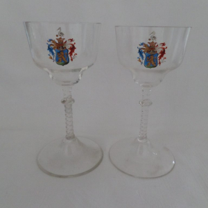 Pair of glass with Bogyay coat of arms