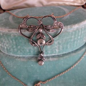 Art nouveau diamond necklace