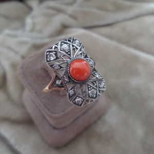 Art deco diamond coral ring